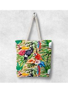 Else Halı Tropikal Papağanlı 3D Desenli Fermuarlı Kumaş Omuz Çantası